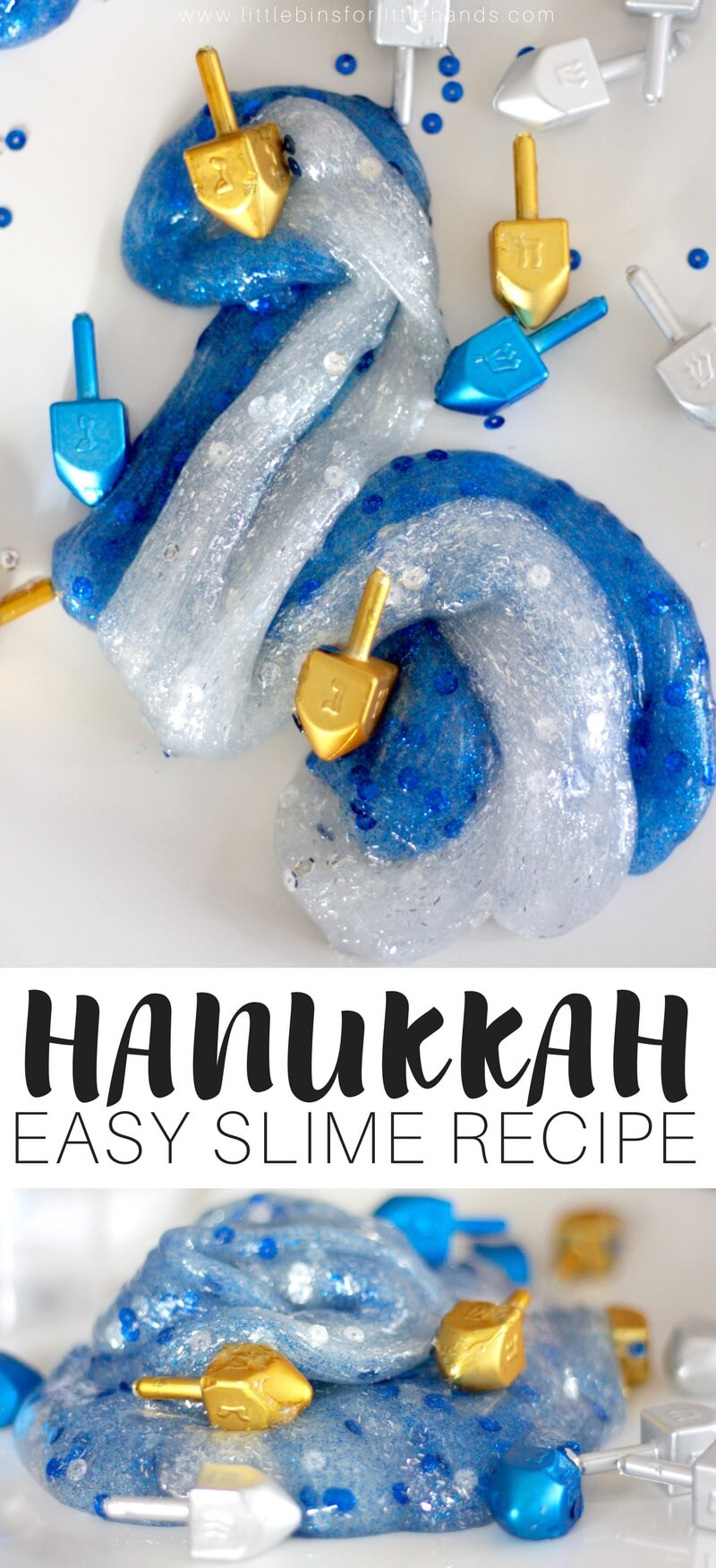 Easy To Make Hanukkah Slime Recipe for Kids Winter Holiday