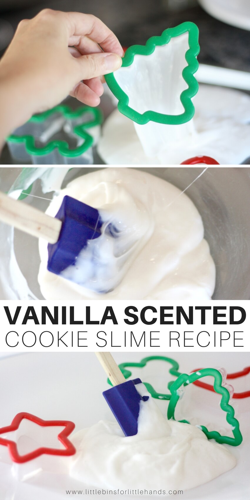Learn how to make vanilla scented slime recipe with our easy to make homemade slime recipes. Cookie theme slime for great Christmas science and slime recipes this season.