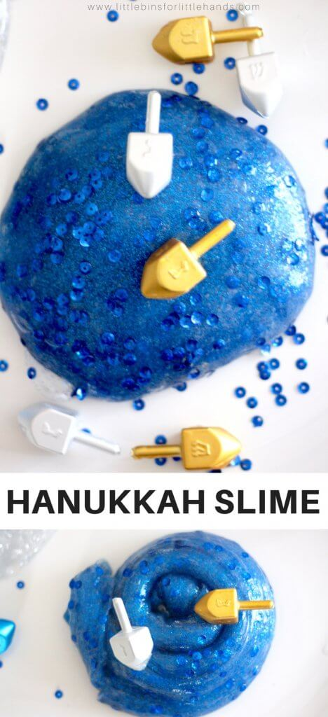 Let's learn how to make Hanukkah slime recipe! This season I am adding a special slime to our holiday slime collection. I want to make sure that all my readers have a fun slime to make for the holiday, and I have noticed there isn't a whole lot of fun Hanukkah science or STEM activities out there. We made one of our easy homemade slimes with a Hanukkah and Dreidel theme this year! Hope you enjoy.