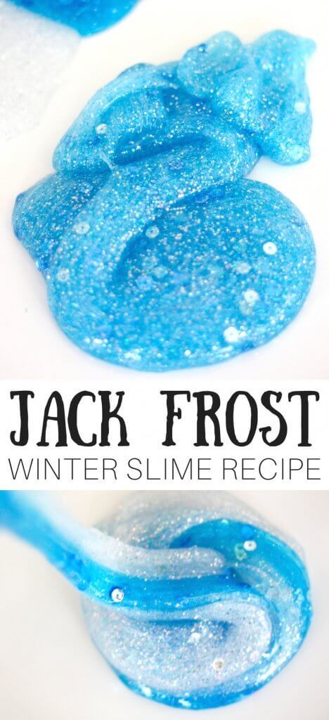 Who is Jack Frost? He's all things ice, snow, winter, blizzards, and everything extra frosty of course. One of the guardians or legendary kid's figures, Jack Frost loves all things exceptionally cold. My son loves the Jack Frost character and suggested a Jack Frost-y winter slime idea for our next homemade slime making session.