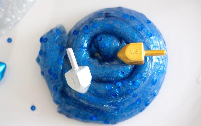 Blue Glitter Hanukkah Slime with Dreidels