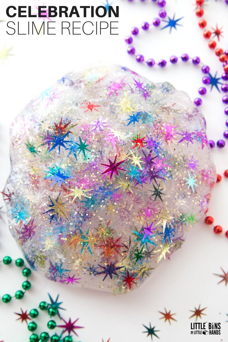 New Years Eve Slime Recipe with Celebration Confetti