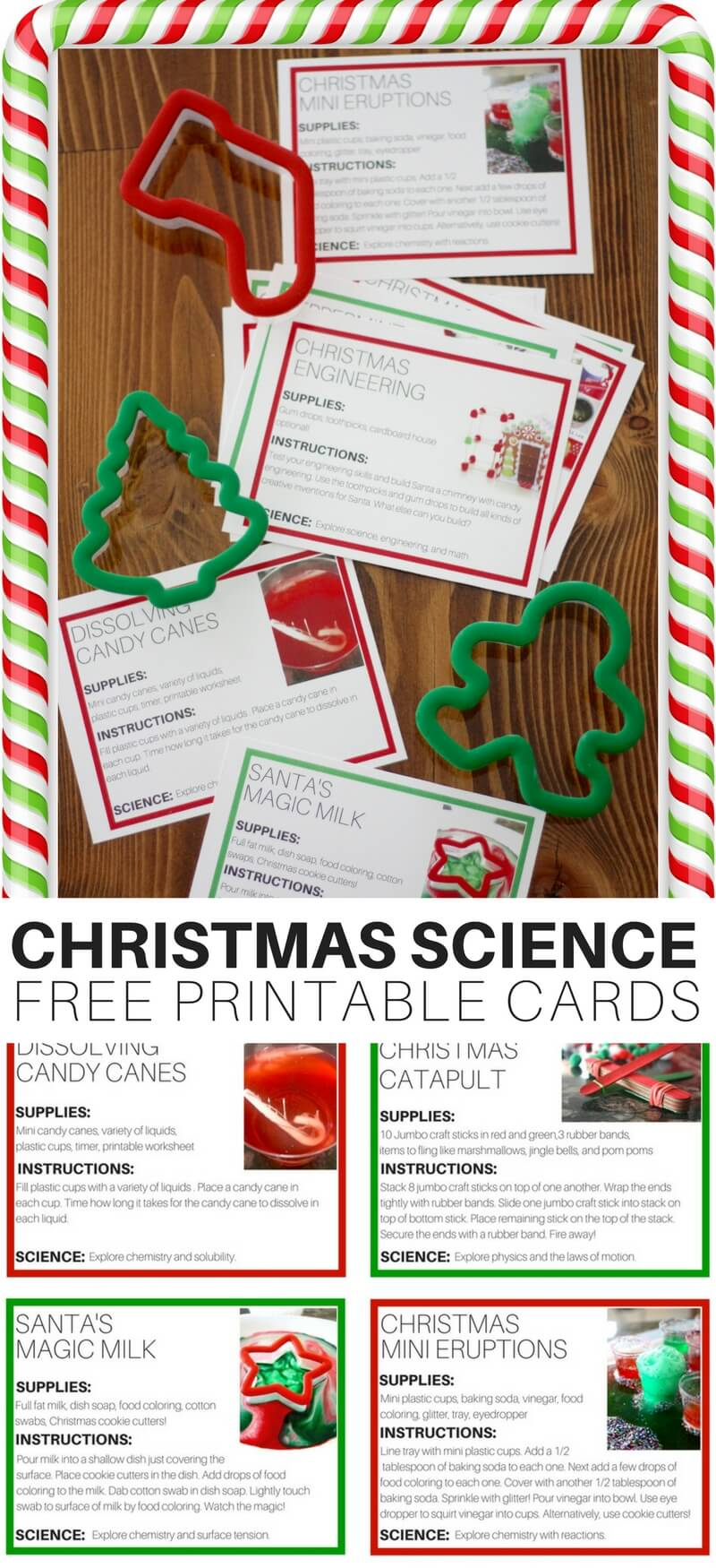 Christmas movies are fun, Christmas baking is fun, Christmas caroling is fun, but what's the most fun of all? Christmas science! Well at least it is for us around here whether it's making a new slime recipe, trying a glittering eruption, or building a holly jolly catapult! I love science and STEM for the holidays, and you can too. Print out our free Christmas science cards to add extra merriment to your holiday season.