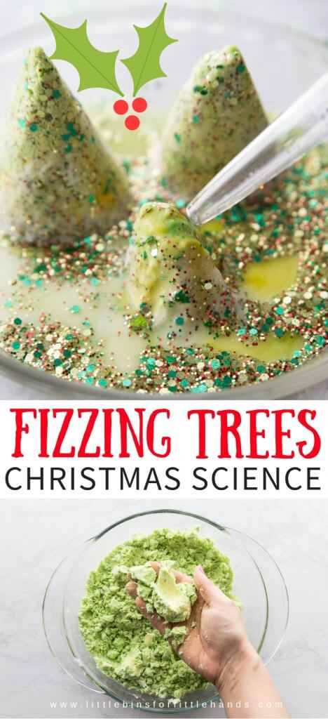 Set up a fizzing, melting Christmas tree baking soda science activity for holiday science and sensory play! Easy Baking soda science and chemistry for kids! Such a fun science experiment for kids! #science #STEM