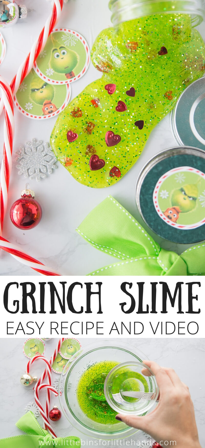 Easy Grinch Slime for Christmas Slime Recipes