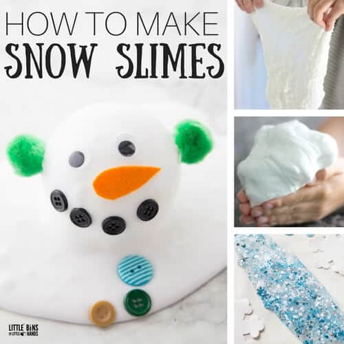 How to make snow slime recipes with kids for easy winter slime themes.