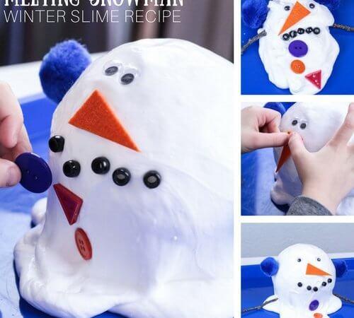 Homemade Melting Snowman Slime Recipe for Winter Slime Making!