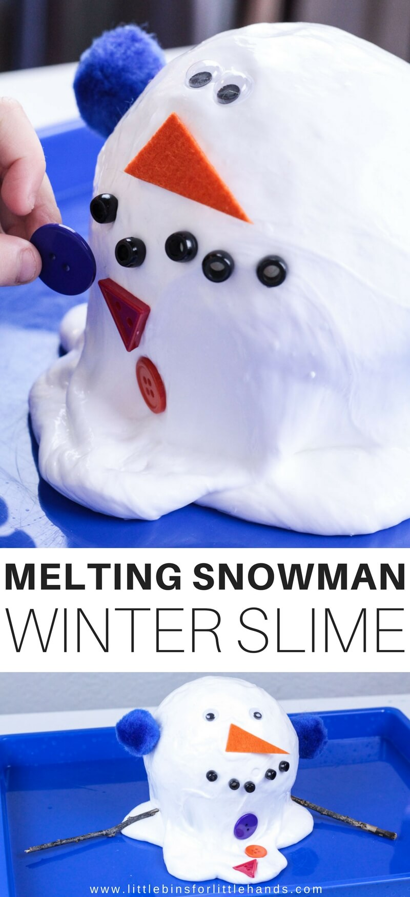 Have you ever built a snowman late spring only to find the next day it looks a bit droopy or melty! We sure have, and it inspired us to make a melting snowman out of slime. Why slime? Because our homemade slime oozes and spreads of course and makes the perfect look for our homemade melting snowman slime recipe. No real snow? No problem, make snow slime instead!