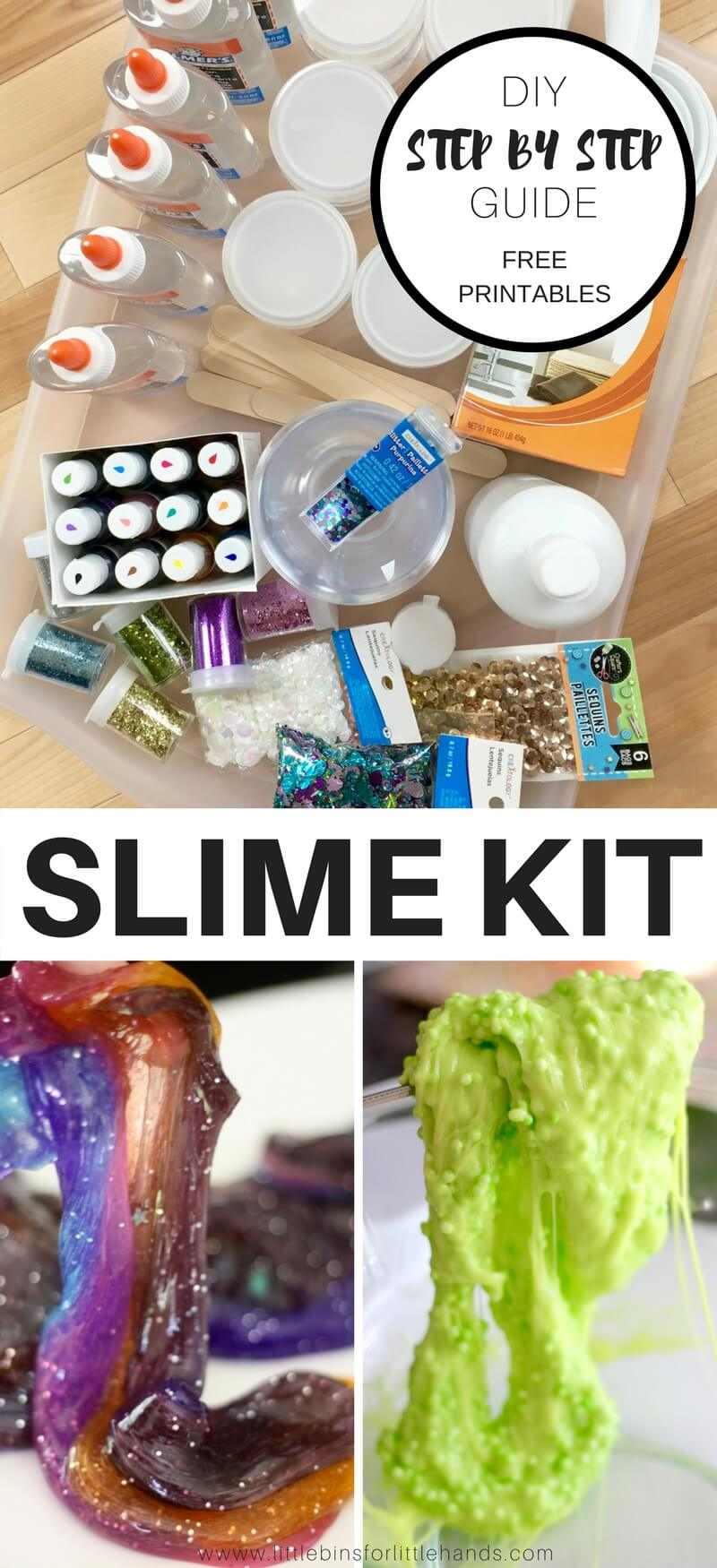 Kids go absolutely crazy for making slime today! Why bother with the dinky little kits in the store when you can put together an easy to make homemade slime kit they will use over and over again. We are going to show you step by step how to build the perfect slime kit to give your kids. Pair it with our printable slime recipe cheat sheet page and keep a slime kit handy for weekends, vacations, and stuck inside days! Homemade slime is an awesome project to share with the kids.