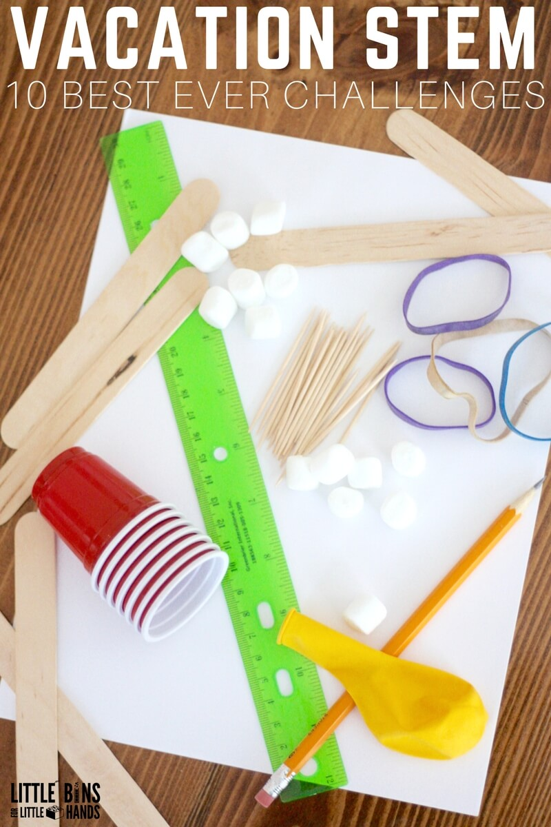 "Stave off the dreaded ""I'm bored"" syndrome that hits part way into any vacation or down time with a few of the BEST simple STEM activities that cost almost next to nothing. We have a bunch of simple STEM challenges to get the juices flowing, keep the kids thinking, and best of all still learning. As always we have plenty of science and STEM to get through a whole year. Shhh don't tell them!"