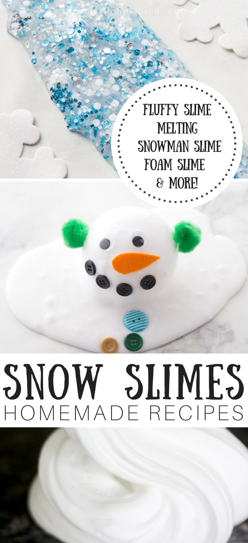 Learn how to make snow slime for awesome homemade slime this winter. Make melting snowman slime, fluffy snow slime, floam snow slime, snowflake slime, and more! We have easy slime recipe and slime video tutorials to help you make the best slime every time. Fun winter slime at your fingertips.