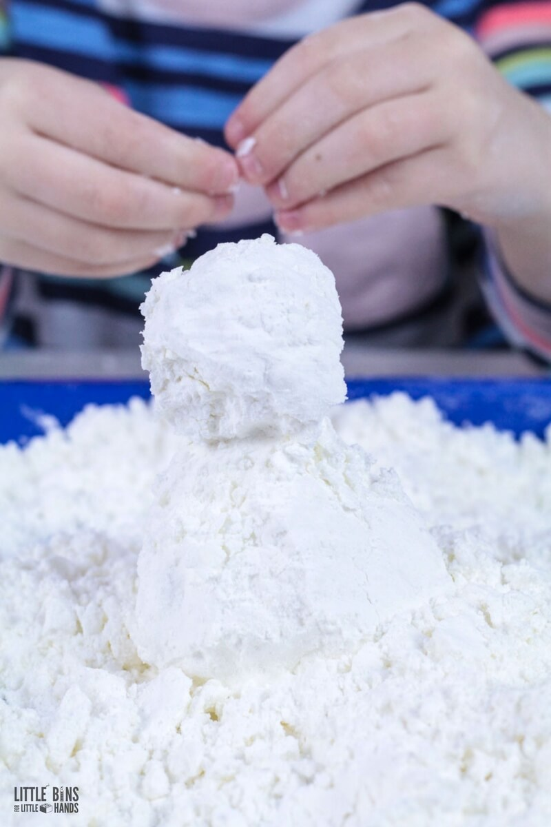 Make fake snow snowman