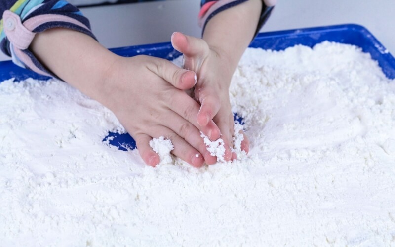 Learn how to make fake snow easily with kids.