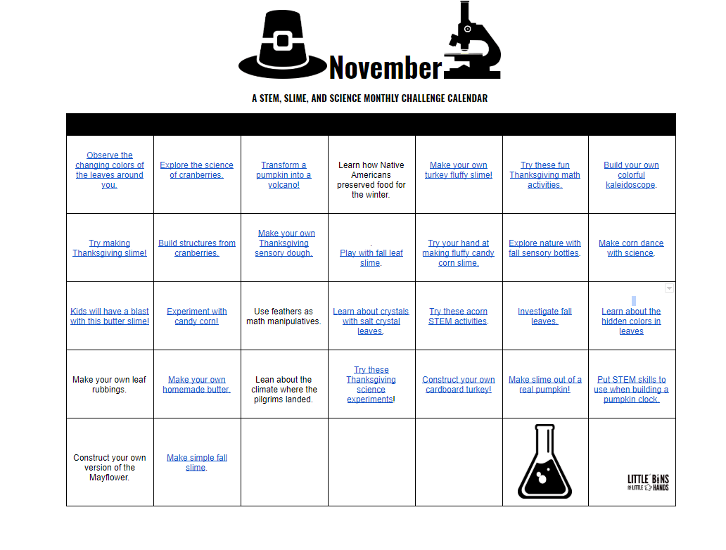 Monthly Stem Activities Calendars For Kids Free Printable Calendars