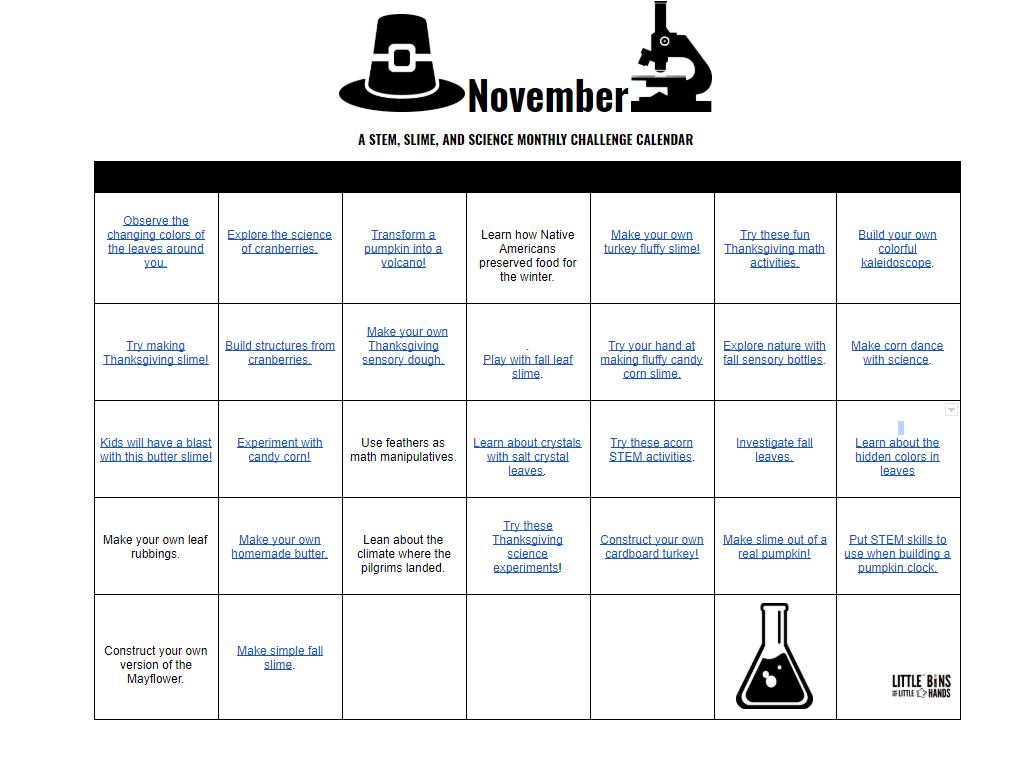 November STEM Science Calendar