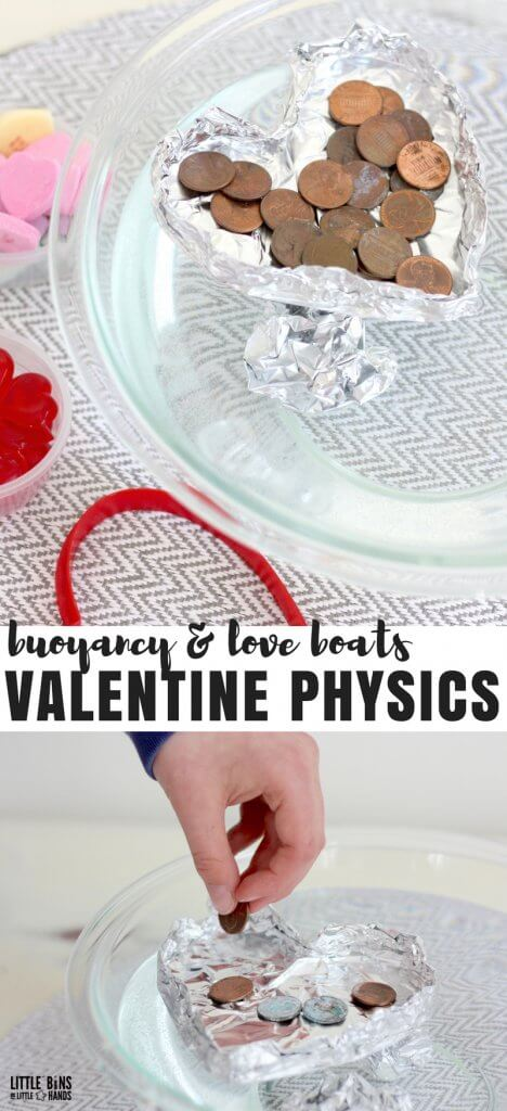 Valentines Day Physics Activities: Buoyancy activity with tin foil boats