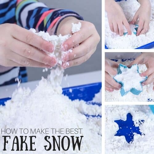 Make fake snow for kids winter sensory play activity ideas