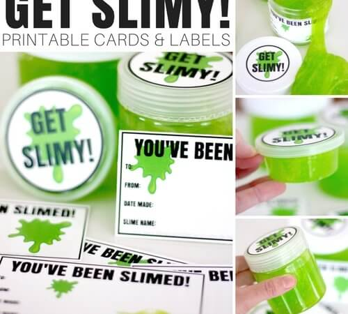 Printable Slime Cards and Labels for Making Homemade Slime To-Go! (FREE)