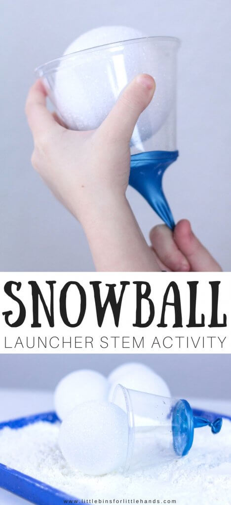 Winter physics and STEM! Get the kids designing, engineering, testing and exploring physics with easy to make snowball launcher winter STEM activity! Hands on STEM with a little bit of gross motor fun! Try our inexpensive science and STEM for a stuck inside kind of day.