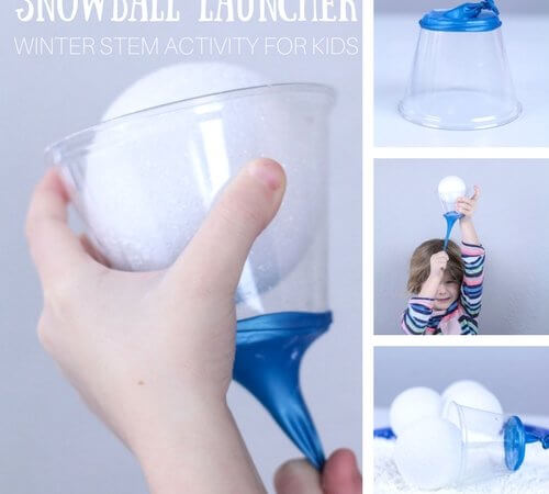 Easy Snowball Launcher Winter STEM Activity for Kids