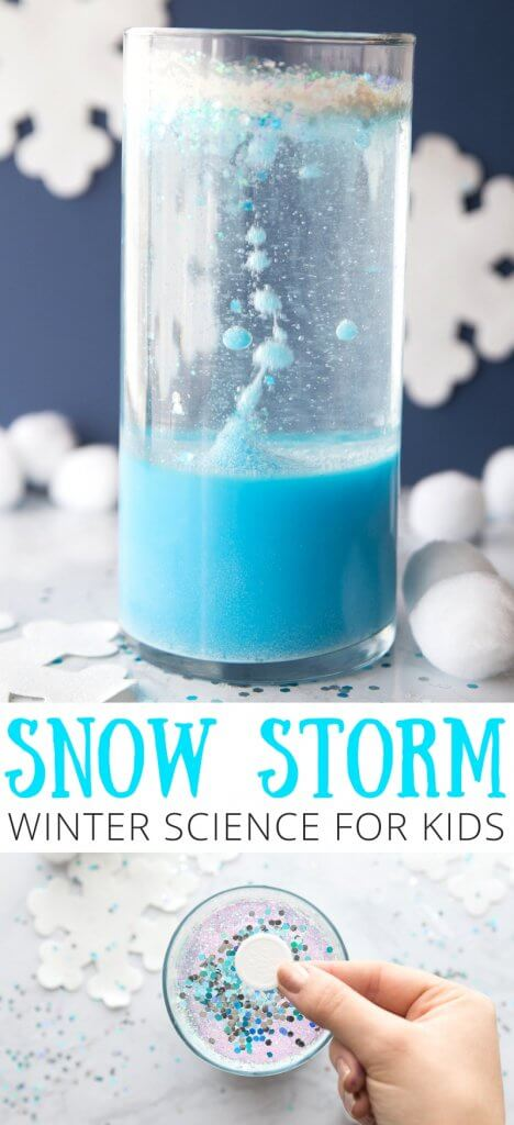 When the weather is too cold to make it outside for play, enjoy simple winter science inside! Set up an invitation to make a winter snow storm in a jar science experiment. Kids will love creating their own snowstorm with common household supplies, and they can even learn a bit about simple science in the process too. Find everything you need below to get started.