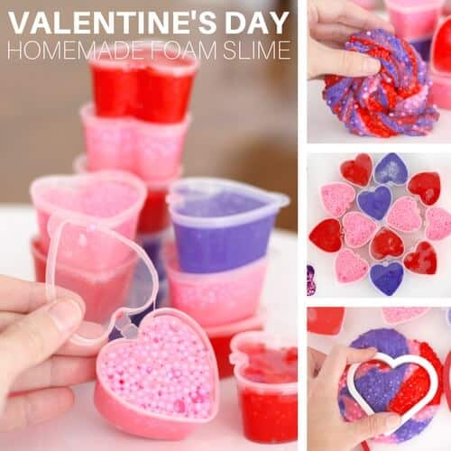 floam or foam beads valentines day slime recipe