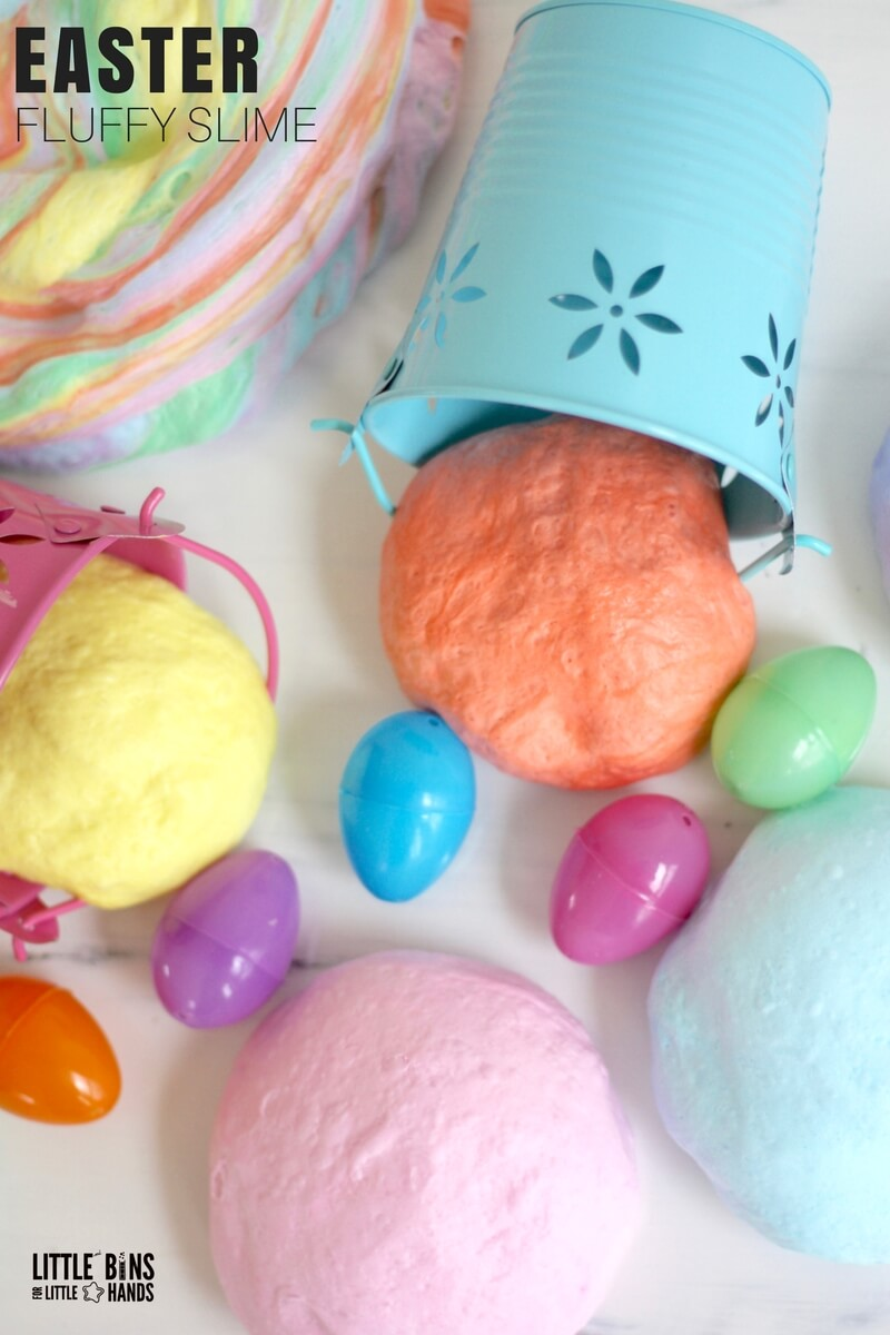How To make Easter Fluffy Slime Recipe with Kids