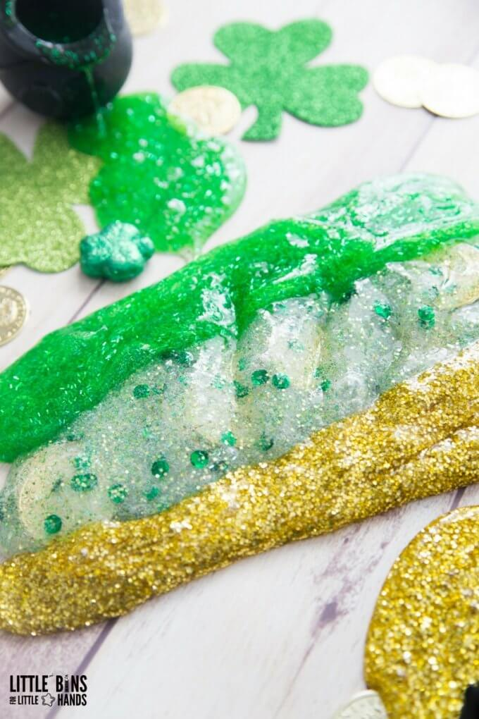 Homemade St Patricks Day Slime Recipe with Kids