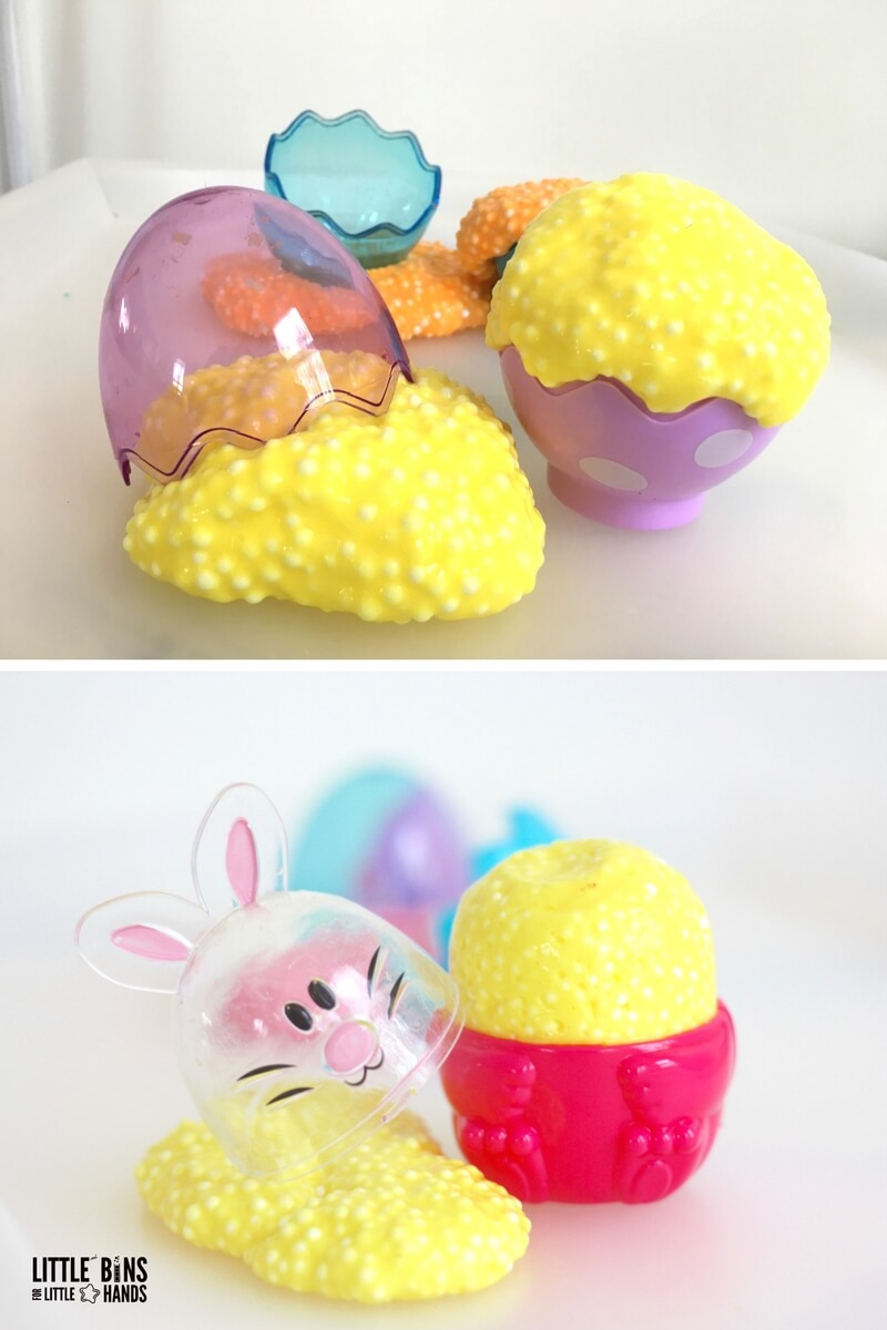 Easter floam slime recipe using plastic eggs