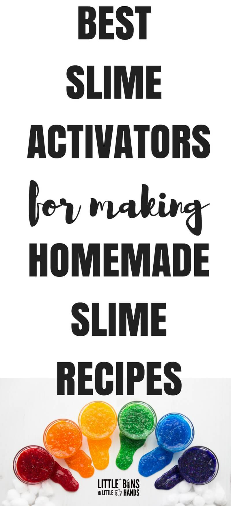 Making homemade slime recipes is all about having the right slime activator and of course the right glue. I am going to share with you my favorite slime activator list to get you started, and I will share some tips for making the easiest slime ever with these different slime activators. We want you to have all the slime making info you need right at your finger tips.