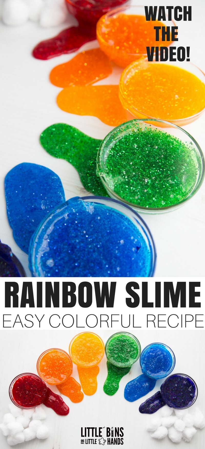 rainbow slime recipe for kids to make easy homemade slime in a rainbow of colors