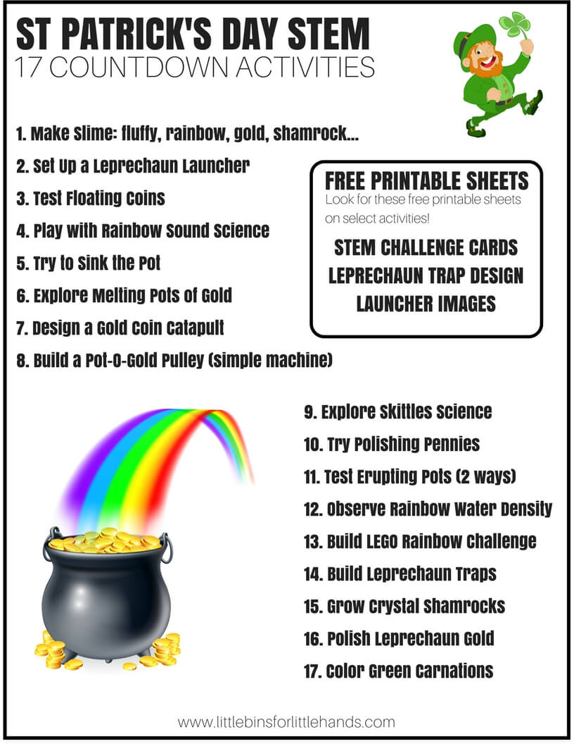 17 days of st patricks day stem countdown for kids - St Patricks Day Pictures To Color 2