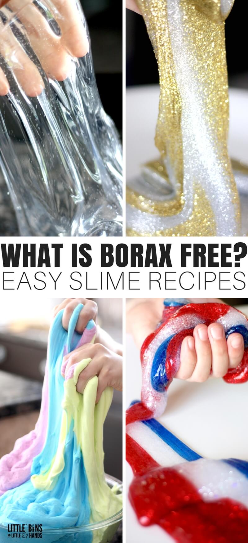 "I thought I would put together a quick page about making an easy slime recipe without borax and what it actually means when you see a slime labeled ""BORAX FREE"". We think making homemade slime is a real treat, and we want you to find the best slime for you, and I just know that we have a slime recipe that will suit your needs."