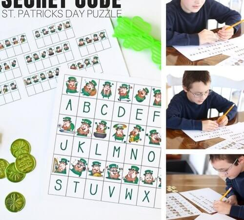 St Patricks Day Code Breaking Puzzle Activity (Free Printable Worksheets)