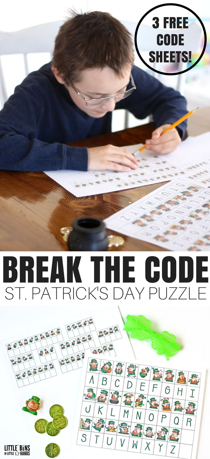 This season we have a couple new kinds of activities to offer that my son loves! Our St Patricks Day Code Breaking activity worksheets are perfect for home or classroom, and the kids will love finding out the secret messages. Solving codes are a neat way to make STEM fun!