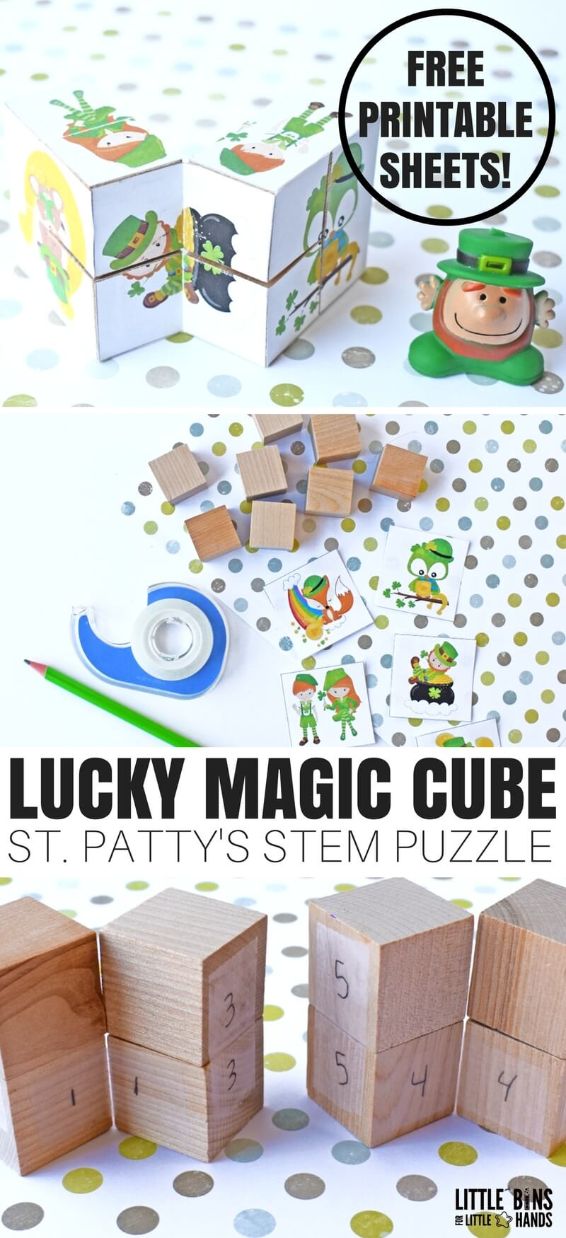 I am super excited to share this neat St Patricks Day Magic Cube Puzzle with you this week. It's perfect to add to our St Patricks Day STEM countdown happening the first 17 days of March! You will find the free printable and step by step instructions below to make your very own lucky magic cube with your own little leprechauns. Keep STEM fun!