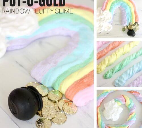 Easy St Patricks Day Rainbow Fluffy Slime Science for Kids!