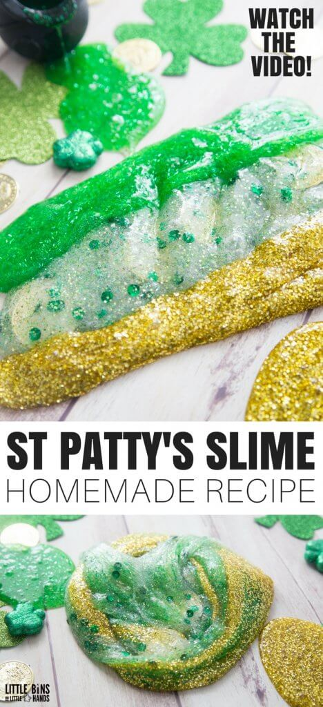 Learn how to make amazing St Patricks Day slime recipe ideas with kids. Making homemade slime for St Patricks Day is a great science and sensory play activity.