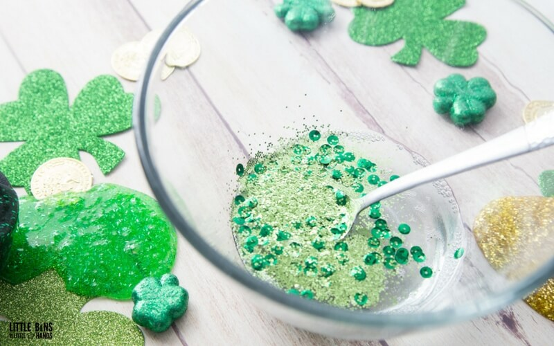 How to make St patricks Day slime recipe with saline solution