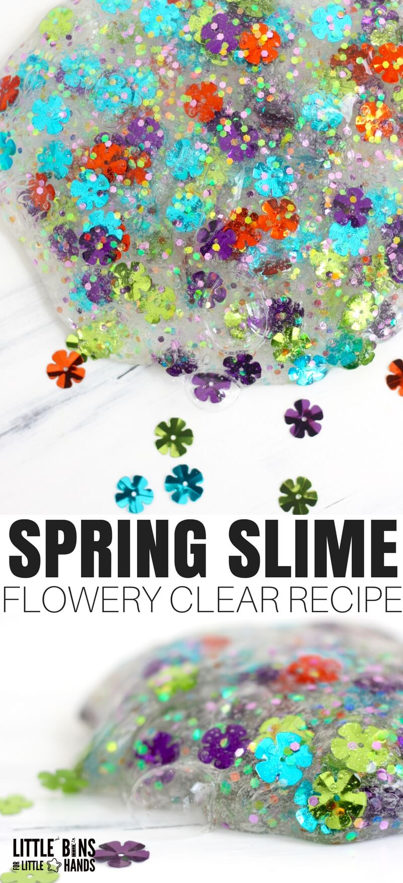 Are you waiting for spring and summer like I am. It's not here yet, but I can totally share a flowery spring slime recipe with you just the same. Learning how to make clear slime is the perfect way to showcase vibrant sparkly confetti for any season or holiday!