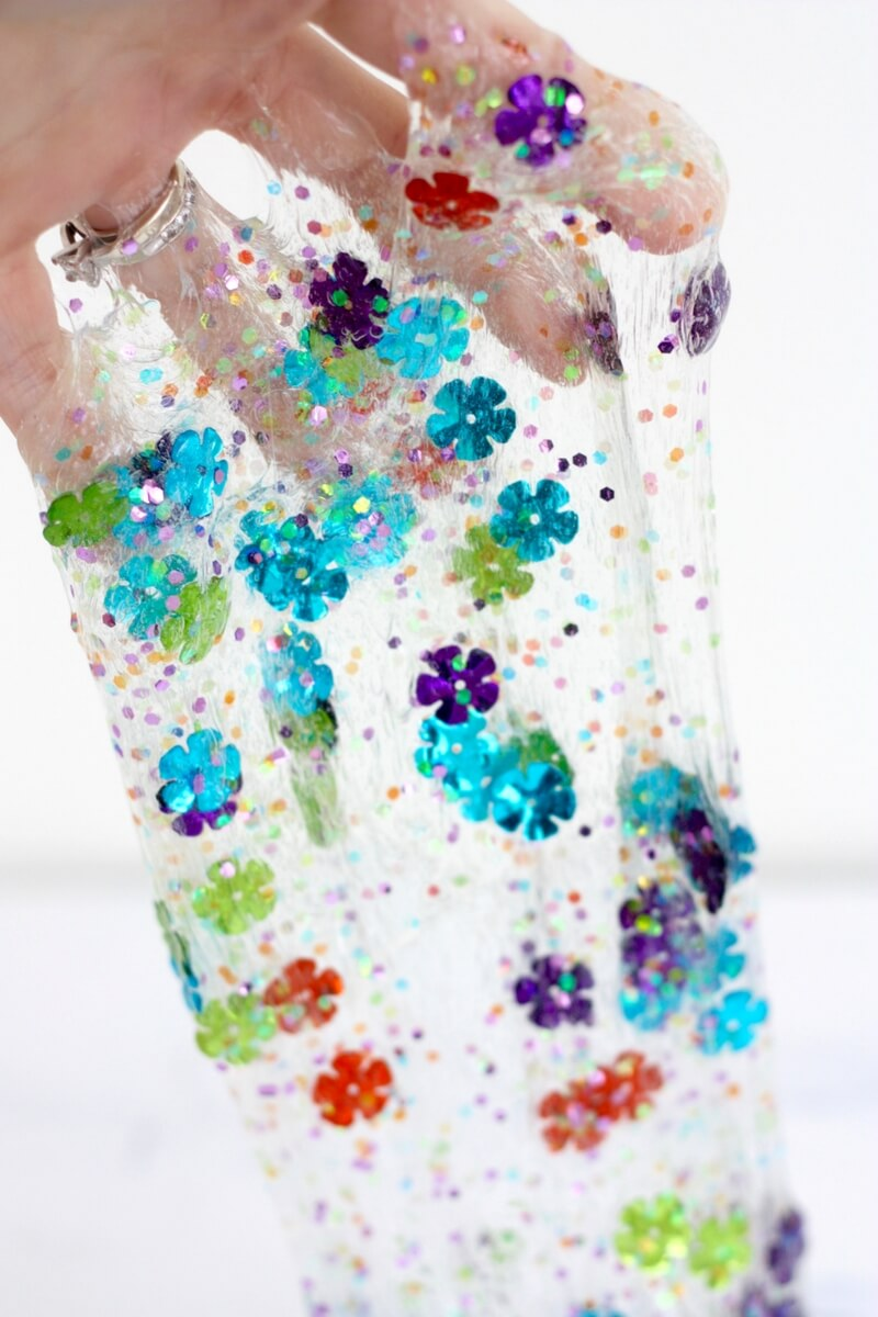 Spring Slime Recipe with Confetti and Clear Slime