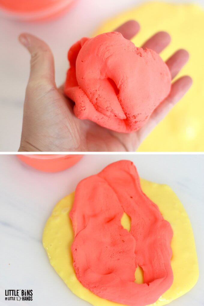 Soft clay slime recipe with basic slime and soft air dry clay