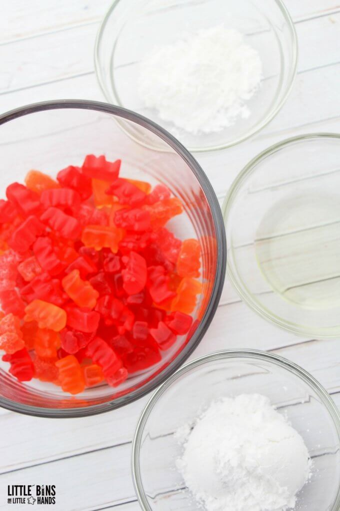 gummy bear edible slime ingredients with red and orange candy and sugar