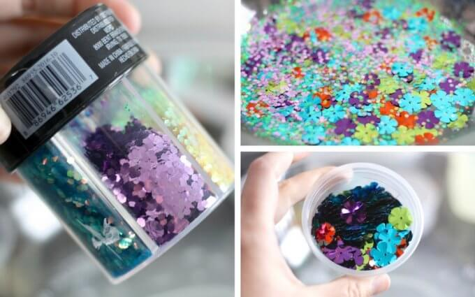 Spring Slime Recipe with Flower Confetti and Chunky Glitter