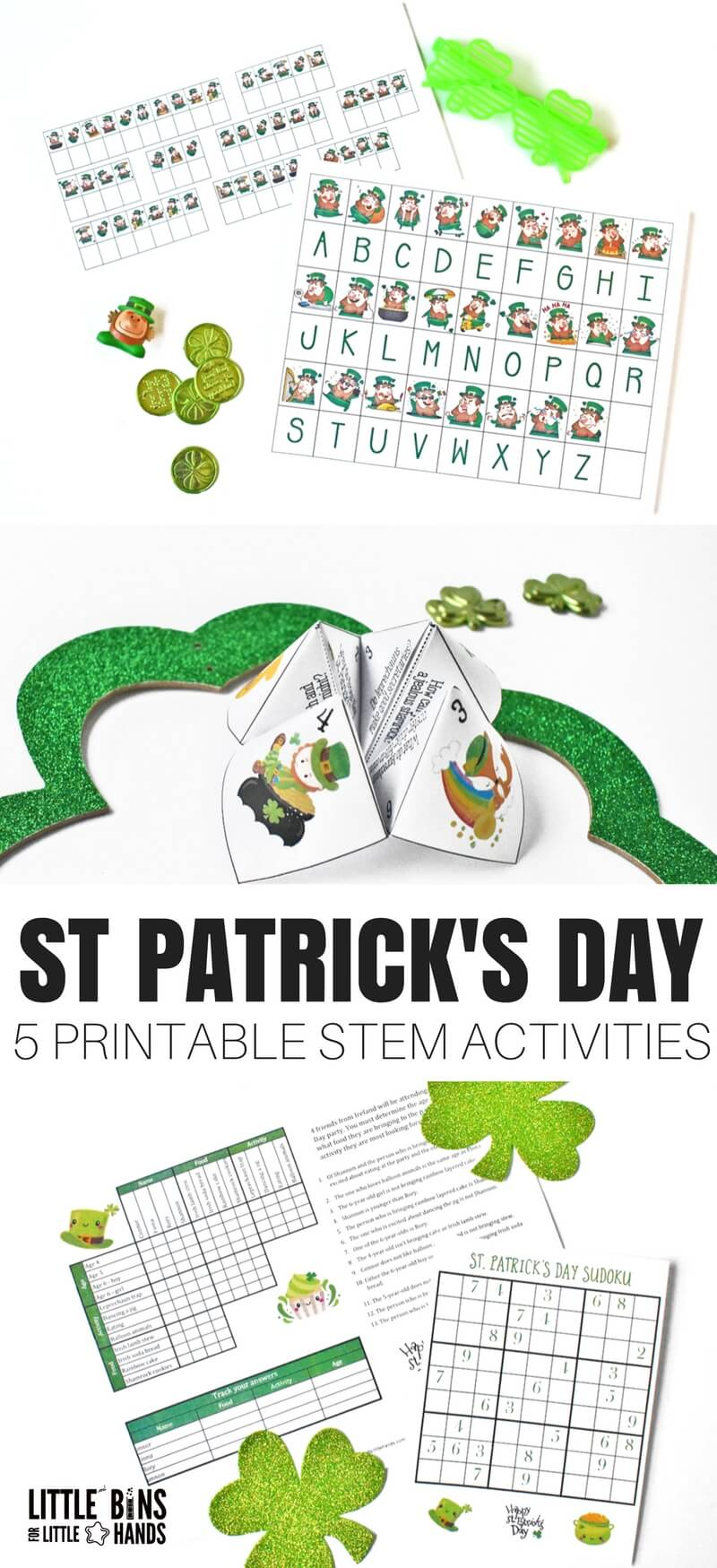 We added a few fun printable St Patricks Day STEM activities or logic type puzzles to the mix this season just for a little something different. Let us know how you like them! We love to give our everyday science and STEM fun twists with holiday themes.