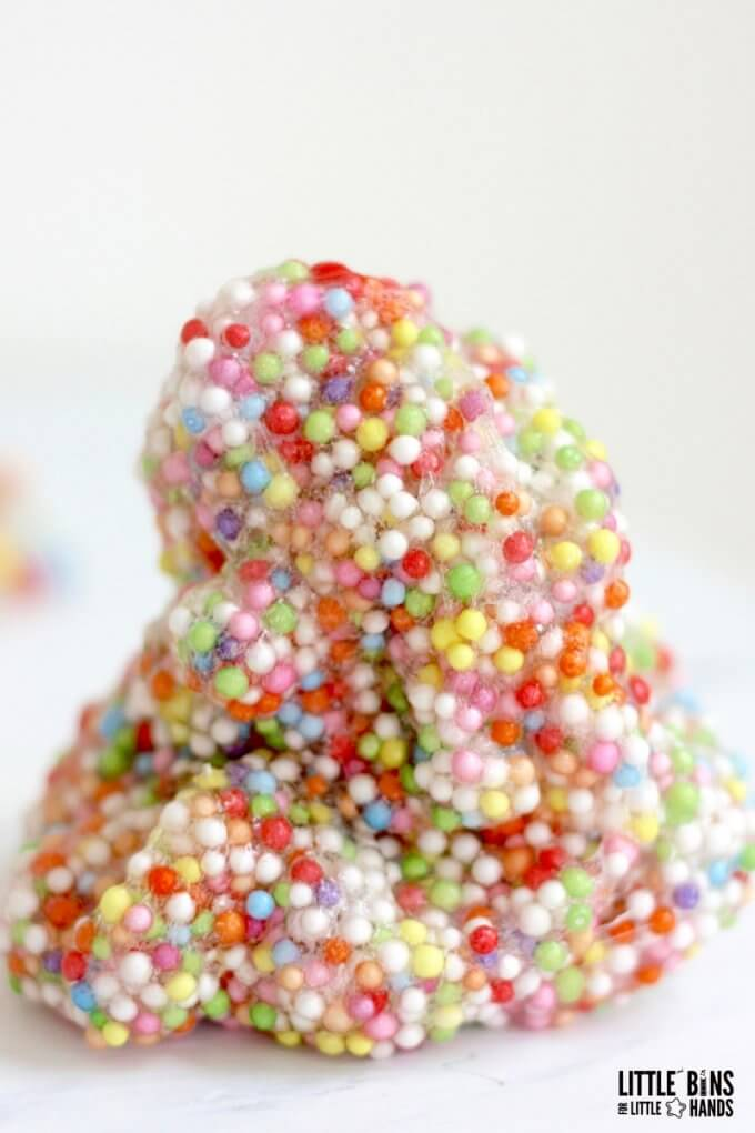 How To Make Crunchy Slime with Foam Beads | Little Bins for