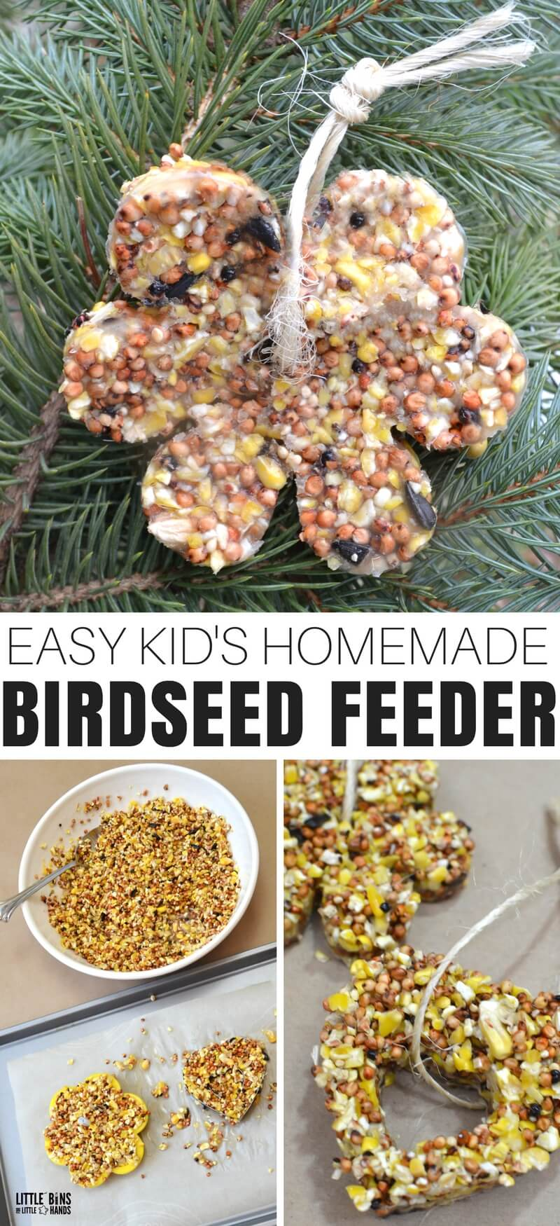 Earth Day, spring, summer, and even fall and winter (so basically anytime of the year) are perfect for learning how to make birdseed feeder ornaments with gelatin. Studying nature and natural life is an amazingly easy science activity to set up for kids, and learning how to care for and give back to nature is equally important. This is a fun bird watching activity to add to your kid's day!