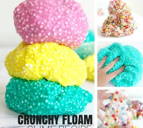 How To Make Crunchy Slime Recipe with Foam Beads