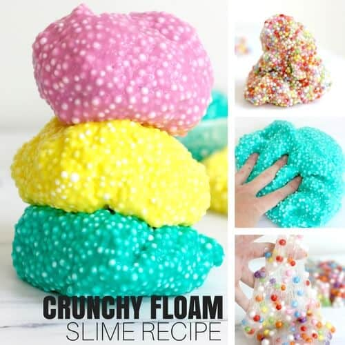 how to make slime with glue and foam beads for floam slime or crunchy slime