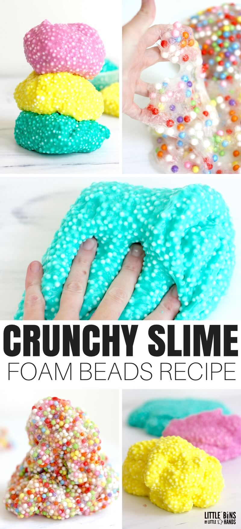 Have you heard of crunchy slime and wondered exactly what's in it? Let's learn how to make crunchy slime using foam beads, and I will also show you another type of crunchy slime with fishbowl beads! We have been experimenting with our crunchy slime recipes and have a few variations to share with you. Homemade slime is always an experiment when you try out new ideas!